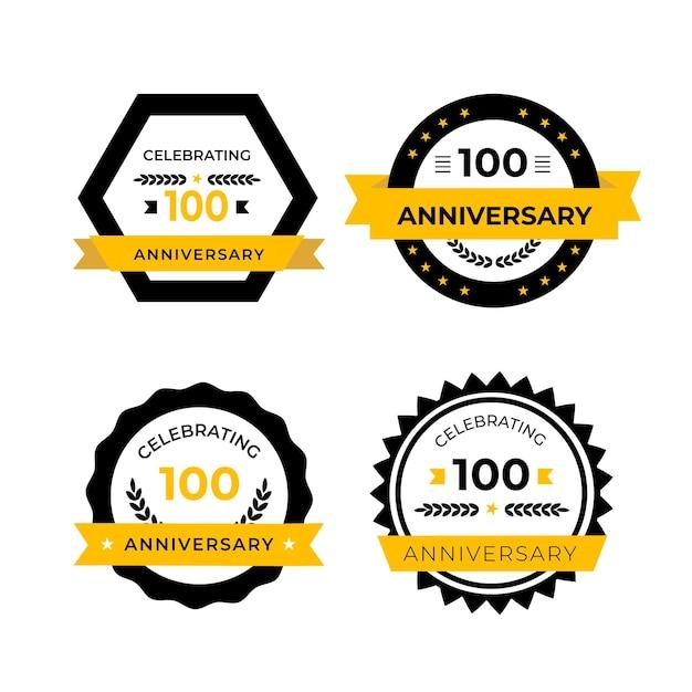 Collection D'étiquettes De Cent Anniversaire Vecteur Premium
