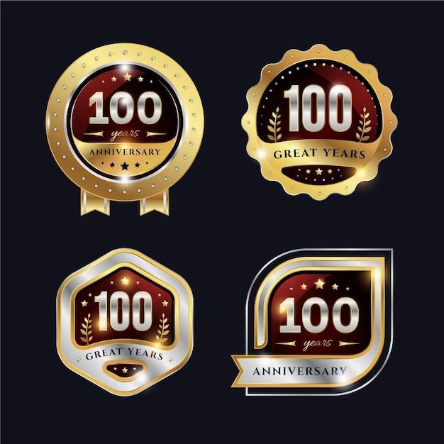 Collection D'étiquettes Cent Ans Vecteur Premium