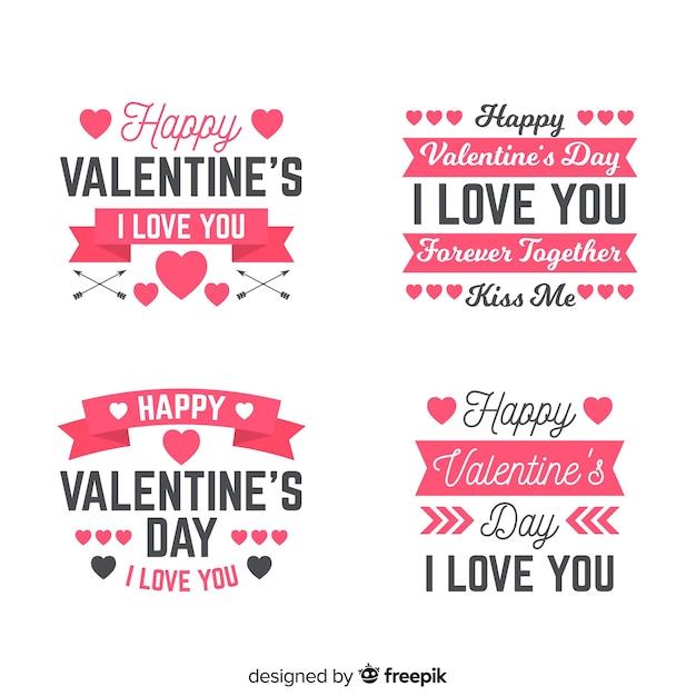 Collection d'étiquettes et de citations pour la saint-valentin Vecteur gratuit