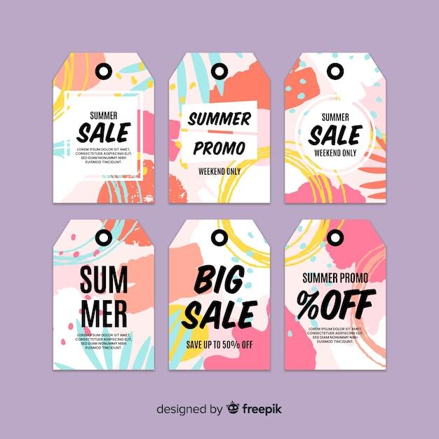 Collection d'étiquettes colorées pour les soldes d'été Vecteur gratuit