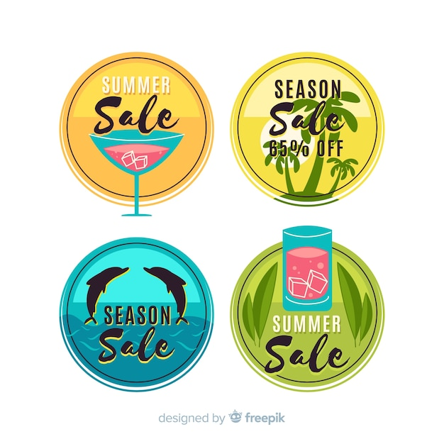 Collection d'étiquettes colorées Vecteur gratuit