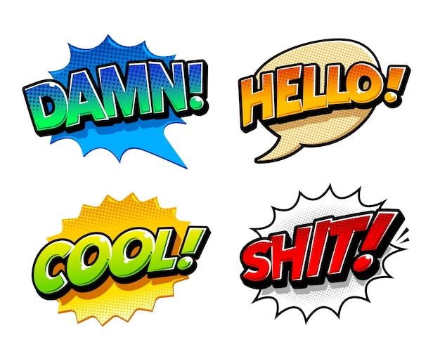 Collection d'étiquettes comiques colorées Vecteur gratuit