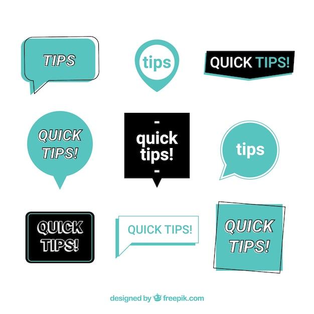 Collection d'étiquettes de conseils colorés avec un design plat Vecteur gratuit