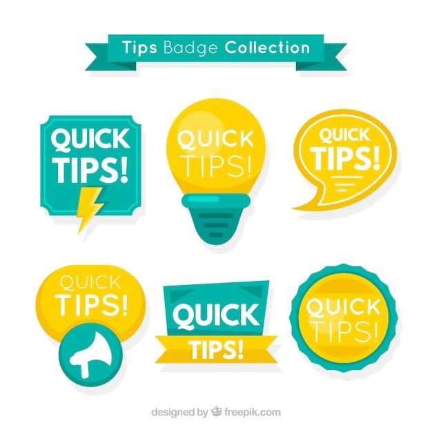 Collection d'étiquettes de conseils modernes avec un design plat Vecteur gratuit