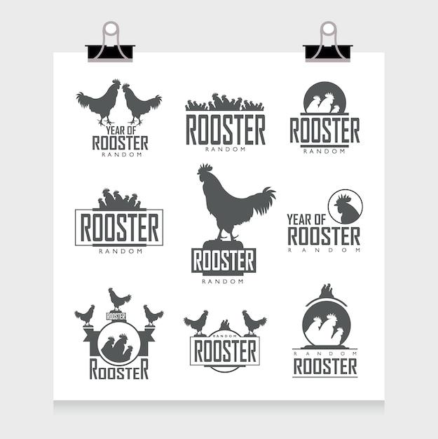 Collection d'étiquettes de coq Vecteur gratuit