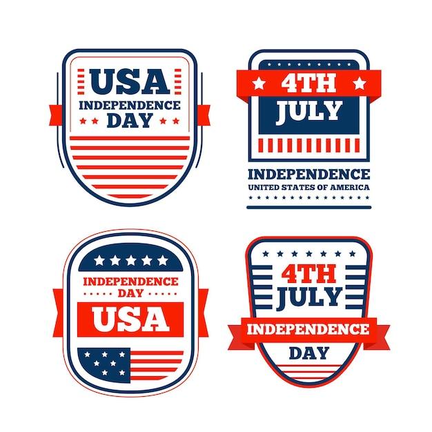 Collection D'étiquettes Design Plat 4 Juillet Vecteur gratuit