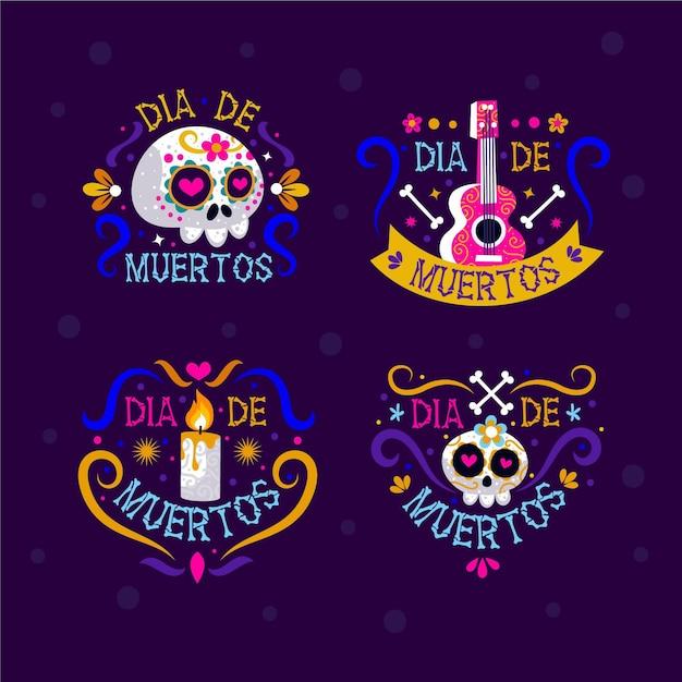 Collection D'étiquettes Dia De Muertos Design Plat Vecteur gratuit