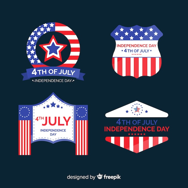 Collection d'étiquettes du 4 juillet Vecteur gratuit