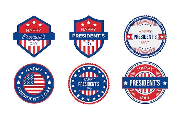 Collection D'étiquettes Du Jour Du Président Vecteur gratuit