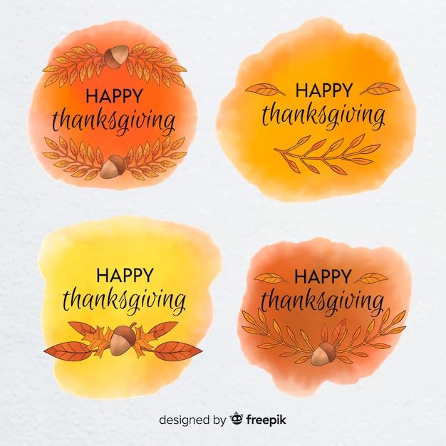 Collection d'étiquettes du jour de thanksgiving à l'aquarelle Vecteur gratuit