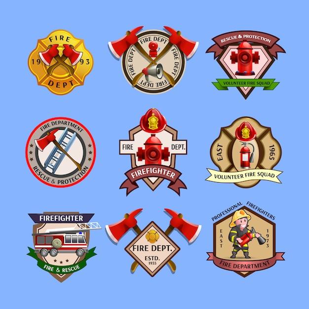 Collection d'étiquettes des emblèmes des pompiers Vecteur gratuit