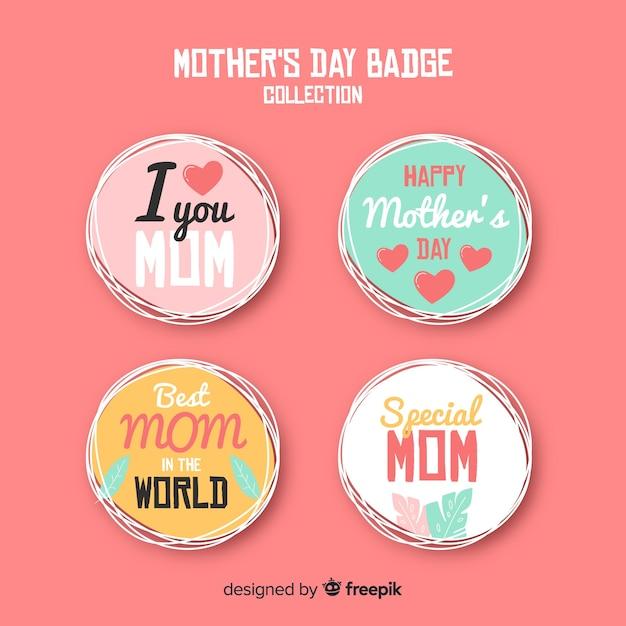Collection d'étiquettes entourées de la fête des mères Vecteur gratuit