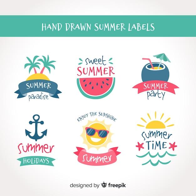 Collection d'étiquettes estivales dessinées à la main Vecteur gratuit