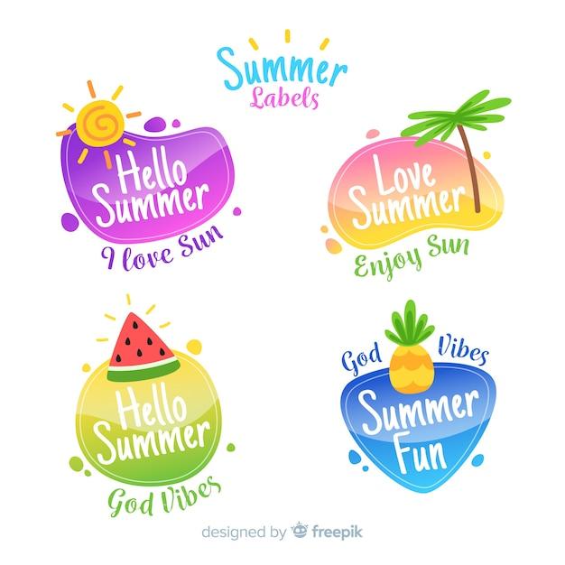 Collection d'étiquettes d'été plat Vecteur gratuit