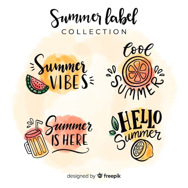 Collection d'étiquettes d'été Vecteur gratuit