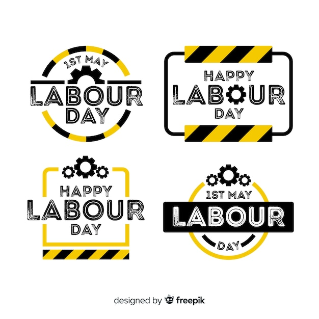 Collection d'étiquettes de la fête du travail Vecteur gratuit