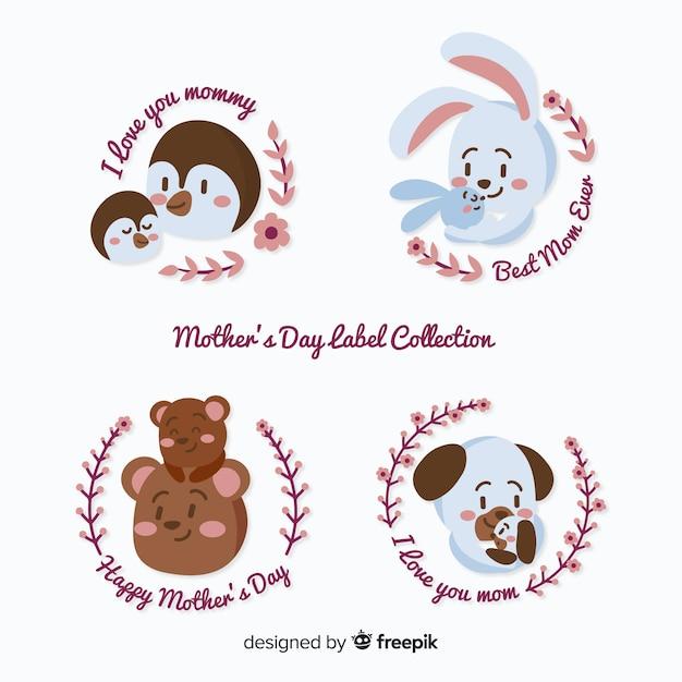 Collection d'étiquettes de la fête des mères Vecteur gratuit