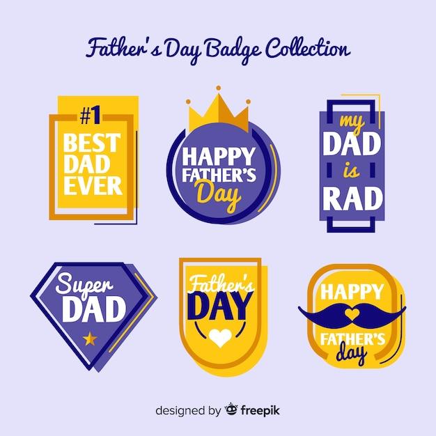Collection d'étiquettes fête des pères Vecteur gratuit
