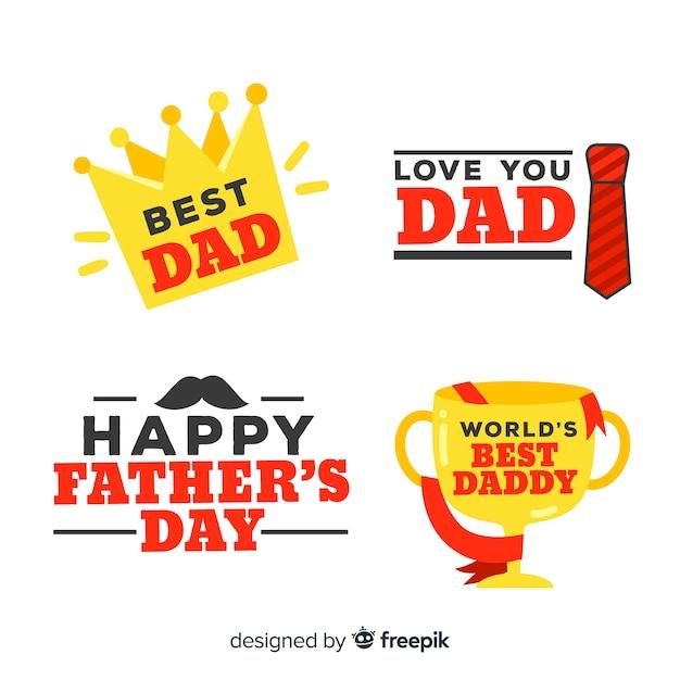 Collection d'étiquettes de fête des pères Vecteur gratuit