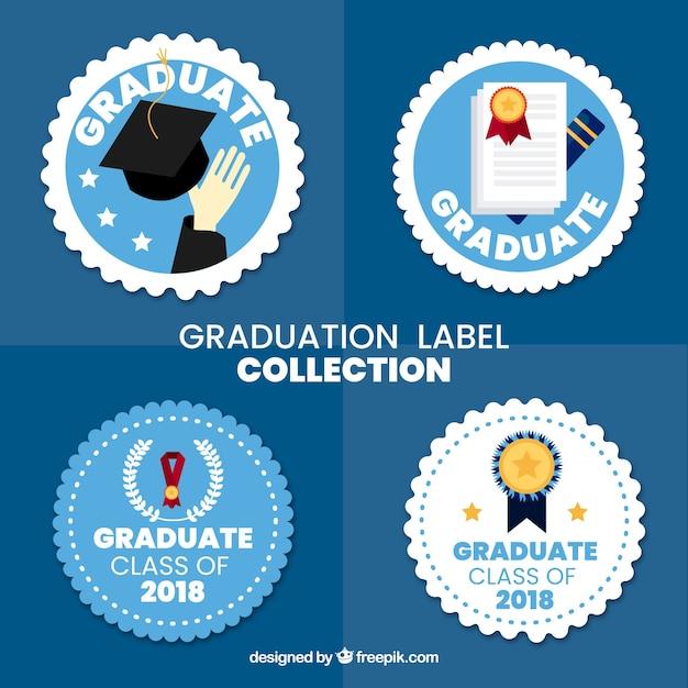 Collection d'étiquettes de graduation avec design plat Vecteur gratuit