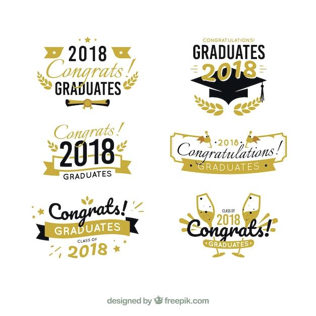 Collection d'étiquettes de graduation moderne avec un design plat Vecteur gratuit