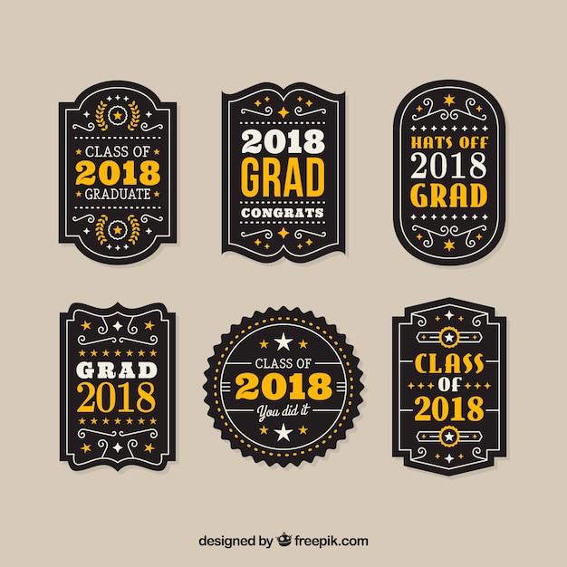 Collection d'étiquettes de graduation de pack avec un design plat Vecteur gratuit