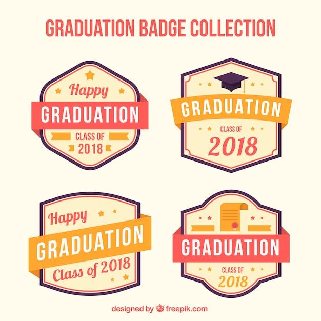 Collection d'étiquettes de graduation pack moderne avec un design plat Vecteur gratuit