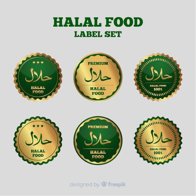 Collection d'étiquettes halal doré avec un design plat Vecteur gratuit