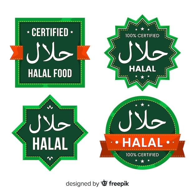 Collection d'étiquettes halal vertes avec un design plat Vecteur gratuit