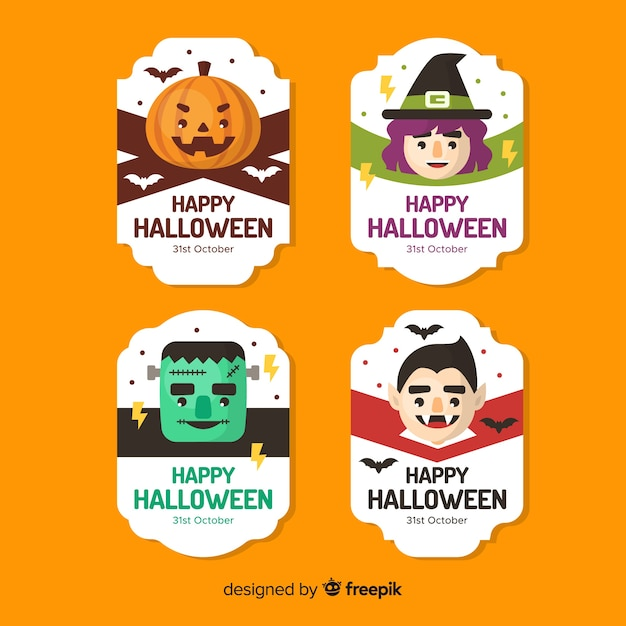 Collection d'étiquettes halloween au design plat Vecteur gratuit