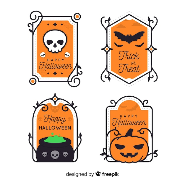 Collection d'étiquettes halloween design vintage Vecteur gratuit