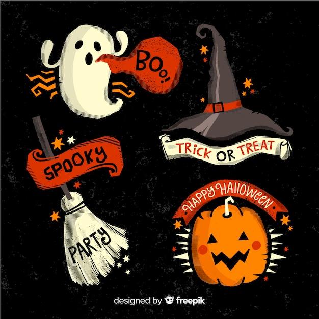 Collection d'étiquettes halloween spooky Vecteur gratuit