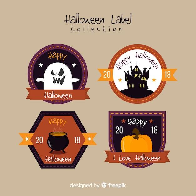 Collection d'étiquettes d'halloween vintage Vecteur gratuit