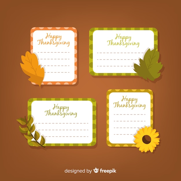 Collection d'étiquettes happy thanksgiving Vecteur gratuit