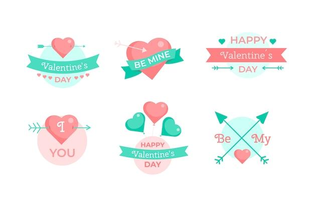 Collection d'étiquettes happy valentine's day Vecteur gratuit