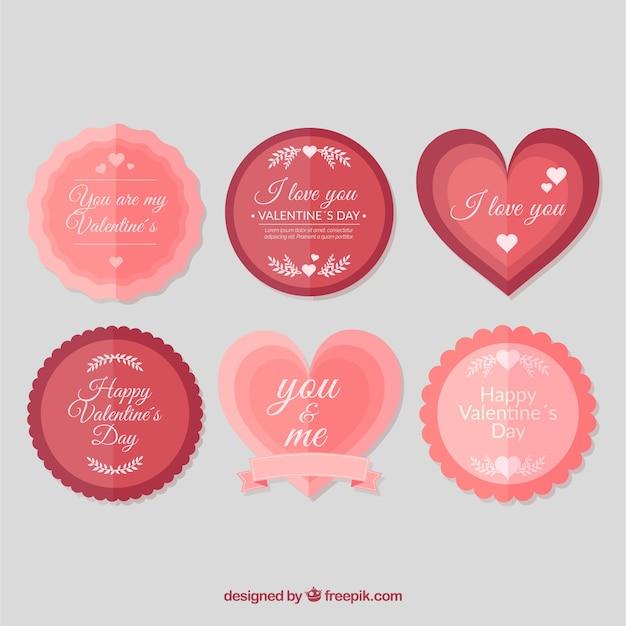 Collection d'étiquettes / insignes vintage valentine Vecteur gratuit