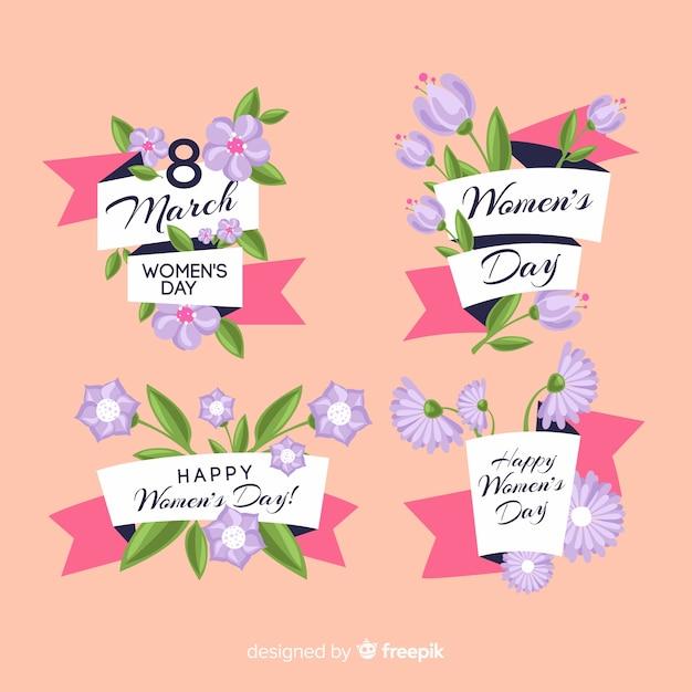 Collection d'étiquettes de jour des femmes Vecteur gratuit