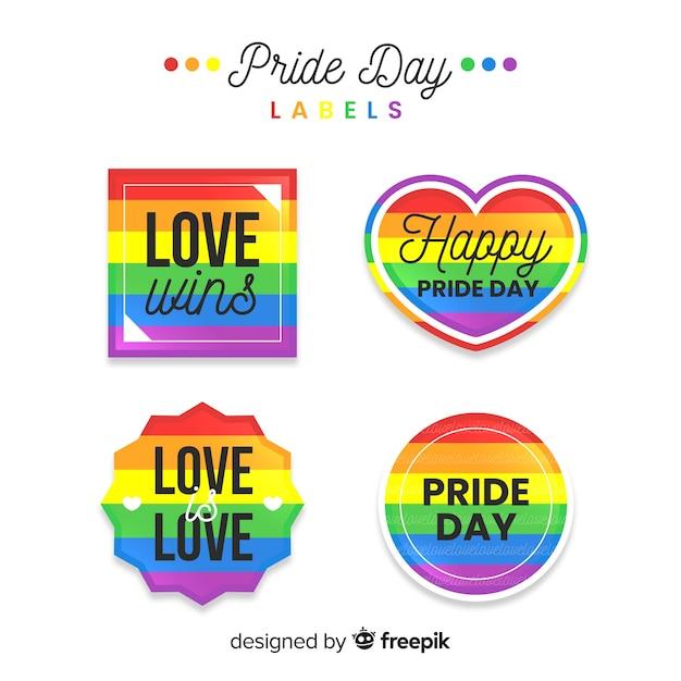 Collection d'étiquettes de jour de fierté coloré Vecteur gratuit