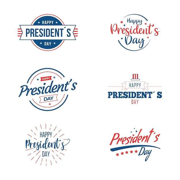 Collection D'étiquettes De La Journée Des Présidents Vecteur gratuit