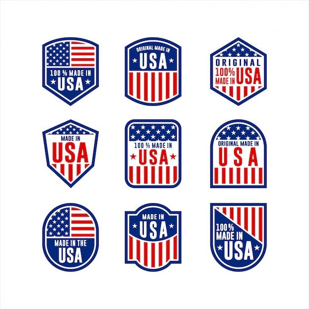 Collection D'étiquettes Made In Usa Vecteur Premium
