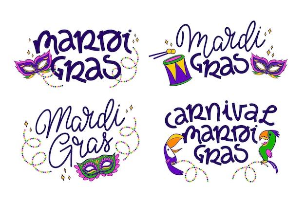Collection D'étiquettes De Mardi Gras Vecteur gratuit
