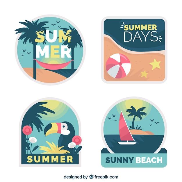 Collection d'étiquettes mignon d'été en design plat Vecteur gratuit