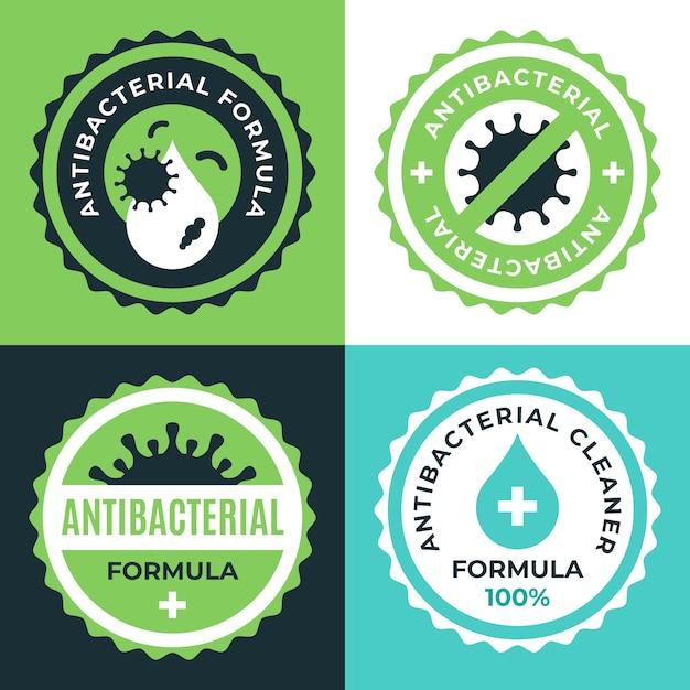 Collection D'étiquettes Nettoyantes Bactéricides Vecteur Premium