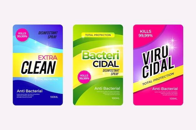 Collection D'étiquettes Nettoyantes Viricides Et Bactéricides Vecteur gratuit