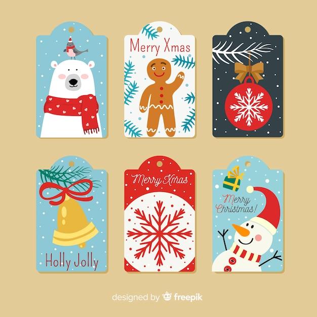 Collection D'étiquettes De Noël Au Design Plat Vecteur gratuit