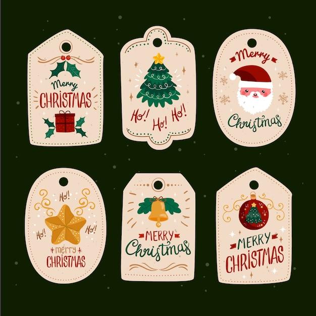 Collection D'étiquettes De Noël Design Plat Vecteur gratuit