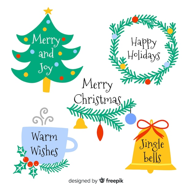 Collection D'étiquettes De Noël Dessinées à La Main Vecteur gratuit