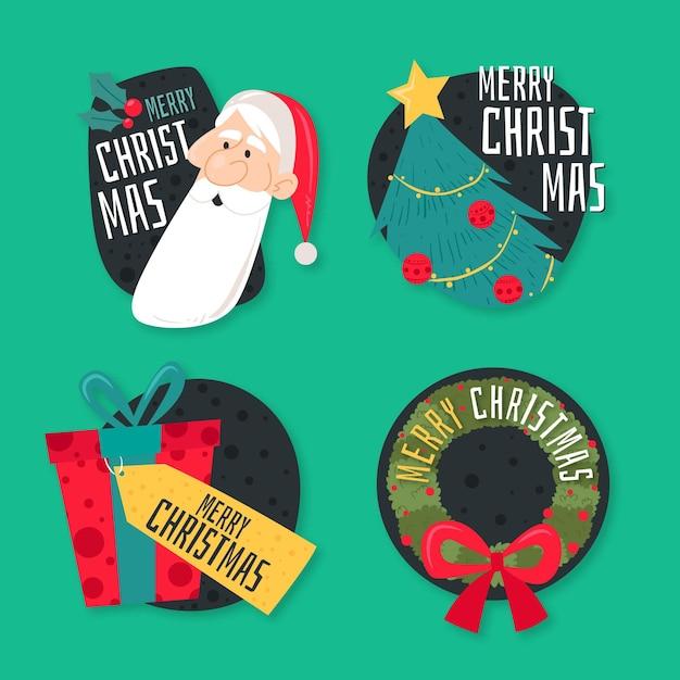 Collection D'étiquettes De Noël Plat Vecteur gratuit