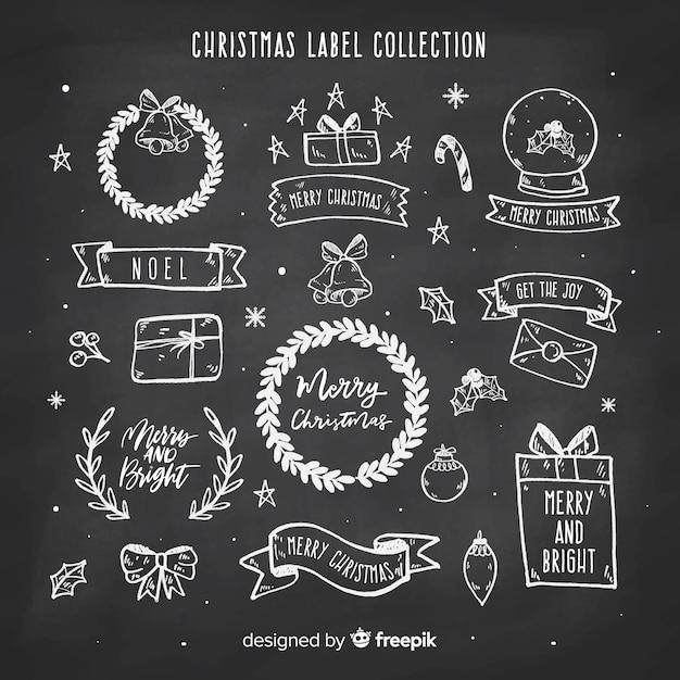 Collection d'étiquettes de noël tableau noir Vecteur gratuit