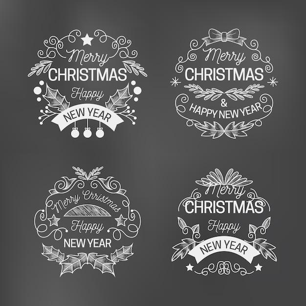 Collection D'étiquettes De Noël Sur Tableau Noir Vecteur gratuit